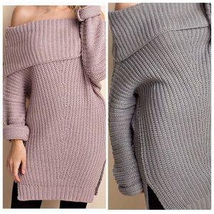Off Shoulder Grey Sweater